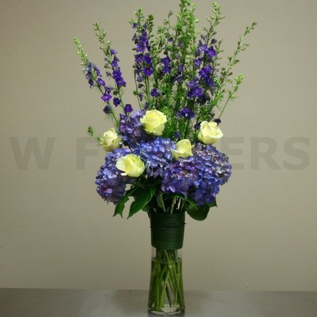 Purple Hydrangea And Roses In Tall Vase W Flowers Ottawa