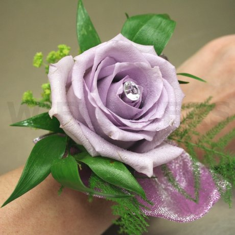 W Flowers product: Purple Rose Wrist Corsage
