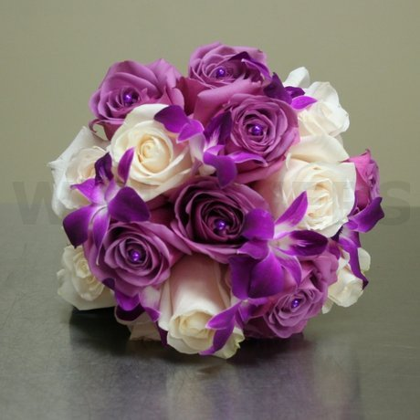 W Flowers product: Purple Roses and Orchids Bouquet for Bride