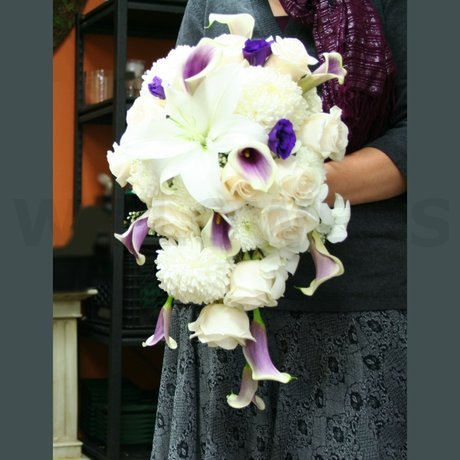 W Flowers product: Purple Wedding Bouquet Cascading
