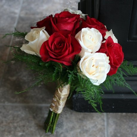 W Flowers product: Red and Ivory Wedding Bouquet