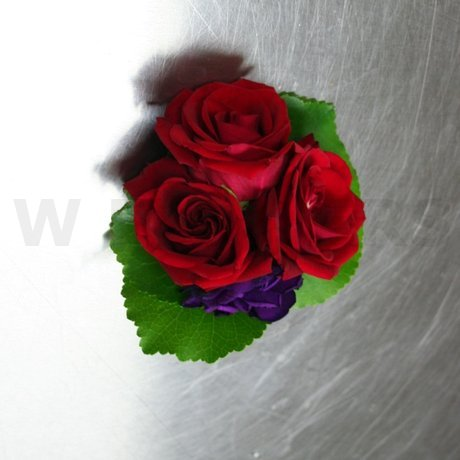 W Flowers product: Red and Purple Corsage