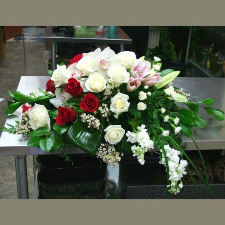 W Flowers product: Red and White Casket Spray