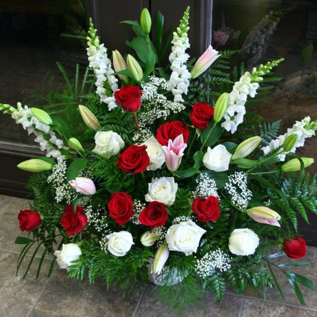 W Flowers product: Red and White Classic Funeral Tribute