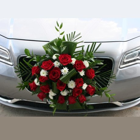 W Flowers product: Red and White Flowers Car Decoration