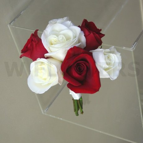 W Flowers product: Red and White roses Bridesmaid bouquet