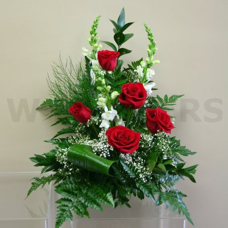 W Flowers product: Red and White Sympathy Flower Arrangement