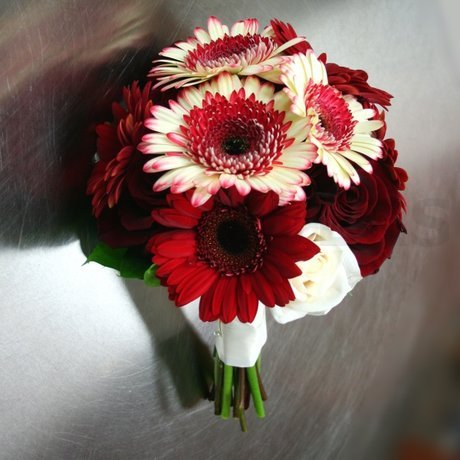 W Flowers product: Red and White Wedding Bouquet