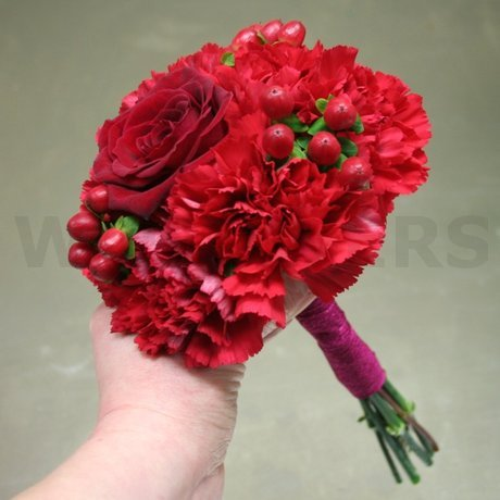 W Flowers product: Red Bridesmaid Bouquet with Fuchsia Ribbon