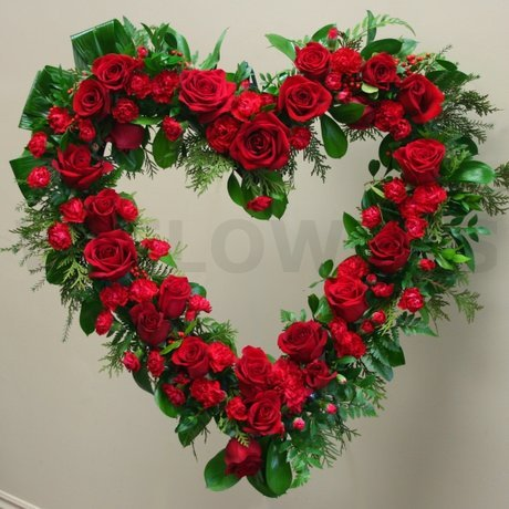 W Flowers product: Red Flowers Funeral Open Heart