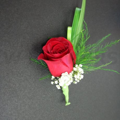 W Flowers product: Red Rose Boutonniere with white accent