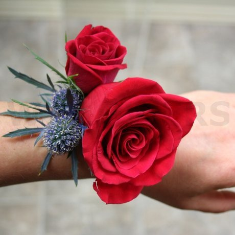 W Flowers product: Red Rose Wristlet for wedding