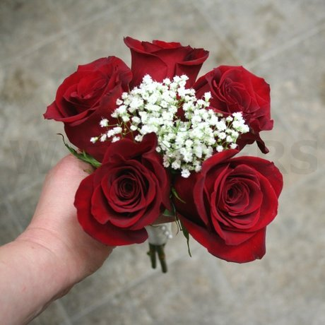 W Flowers product: Red Roses and Babys Breath Bouquet