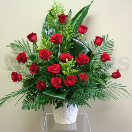 W Flowers product: Red Roses Sympathy Arrangement