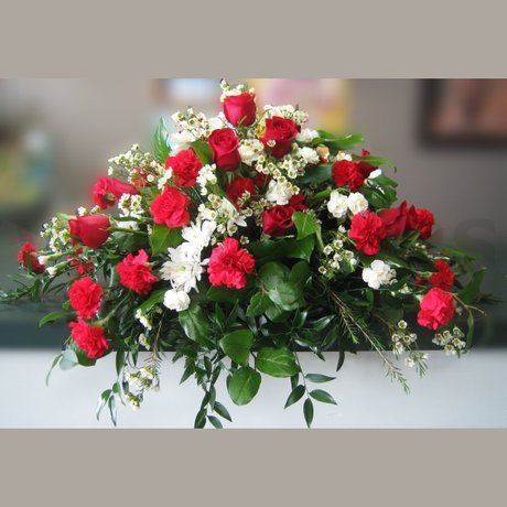 W Flowers product: Red & White Casket Spray