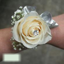 W Flowers product category: Rose with Silver Ribbon Wrist Corsage