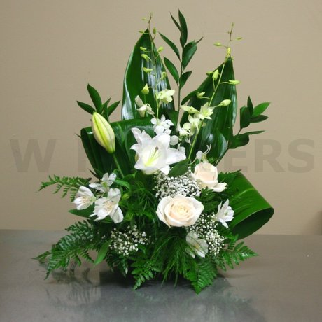 W Flowers product: Small Sympathy Arrangement in White