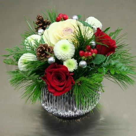 W Flowers product: Snowball Centerpiece