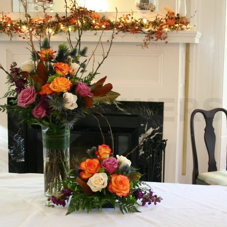 W Flowers product: Strathmere Wedding Reception Flowers in Fall Theme