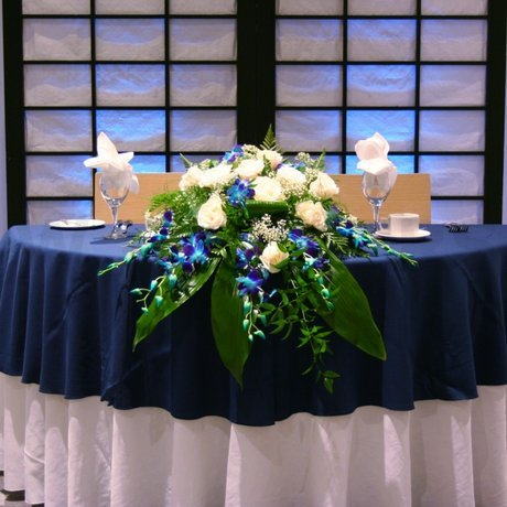 W Flowers product: Sweetheart Table flowers with blue