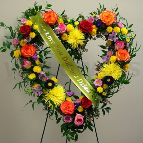W Flowers product: Sympathy flowers heart