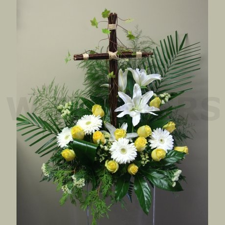W Flowers product: Sympathy Flowers with Cross