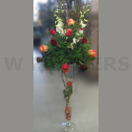 W Flowers product: Tall Centerpiece with roses and white orchids