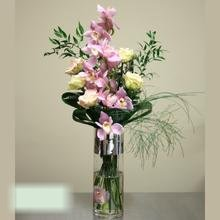 W Flowers product category: Tall vase arrangement with orchid