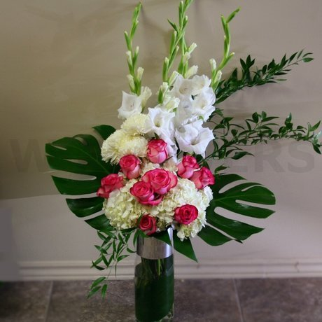 Tall vase white flower arrangement w flowers ottawa - Flower arrangements for vases ...