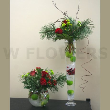 W Flowers product: Tall Vase Winter Centerpiece