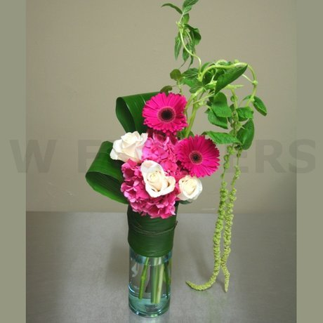 W Flowers product: Tall Vase with Pink Hydrangea and Gerbera