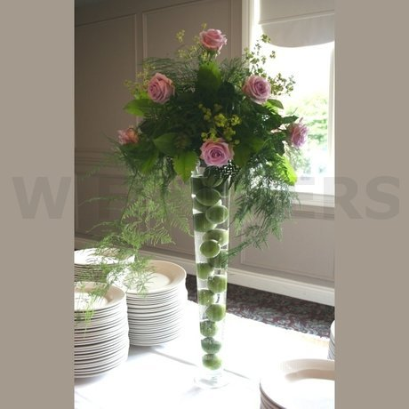 W Flowers product Tall Wedding Centerpiece with Purple Roses