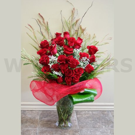 W Flowers product: Thirty red roses in a vase