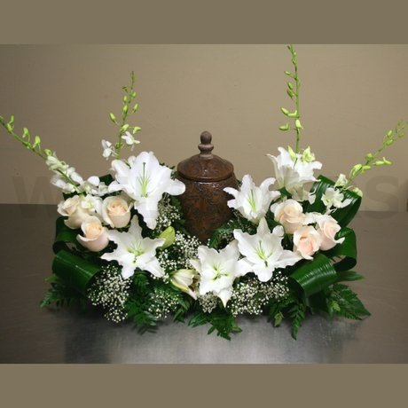 W Flowers product: Urn Funeral Flowers in White