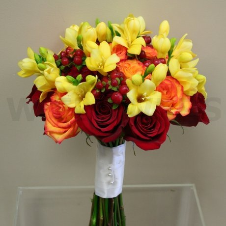 W Flowers product: Vibrant red and yellow bridal bouquet