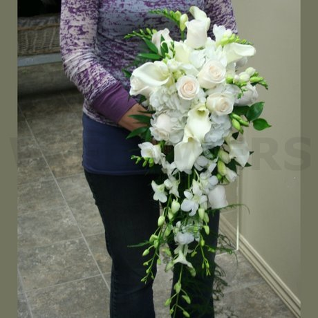 W Flowers product: Wedding Bouquet Cascade Style in white