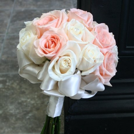 W Flowers product Wedding Bouquet in Peach and Ivory