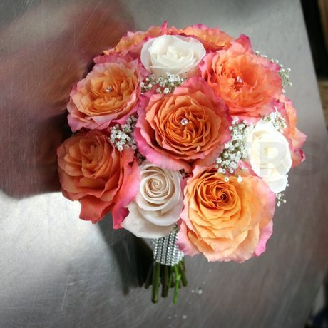 W Flowers product: Wedding Bouquet in Peach color