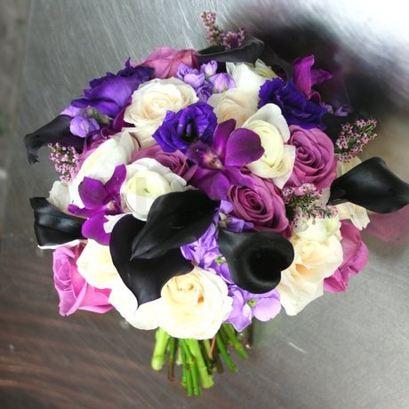 W Flowers product: Wedding Bouquet in Plum and white