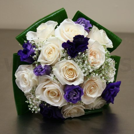 W Flowers product: Wedding Bouquet in White and Purple