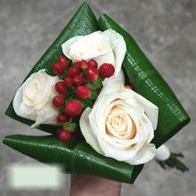 W Flowers product category: Wedding Bouquet of White Roses and Red Berries