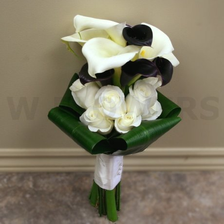 W Flowers product: Wedding Bouquet with Black and White Calla