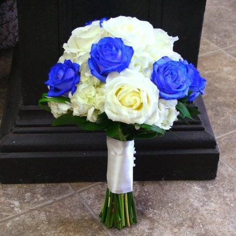 W Flowers product: Wedding Bouquet with Blue  and White Roses
