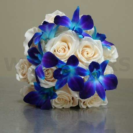 W Flowers product: Wedding Bouquet with Blue Orchids