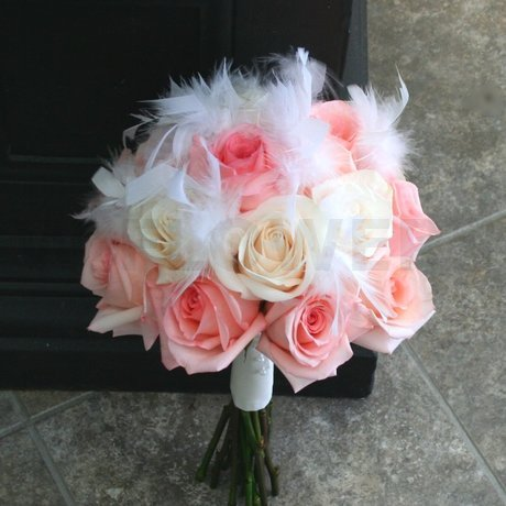 W Flowers product: Wedding bouquet with feathers and peach roses
