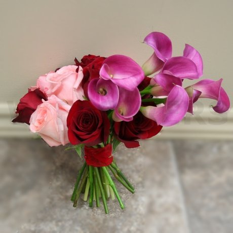W Flowers product: Wedding Bouquet with fuchsia calla