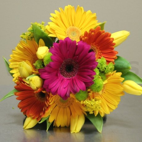 W Flowers product: Wedding Bouquet with fuchsia orange and yellow Gerbera