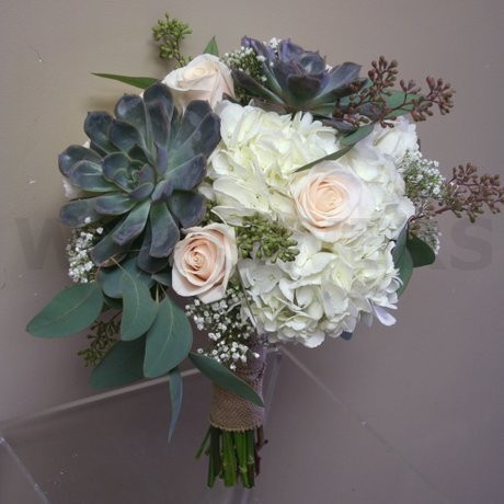 W Flowers product: Wedding bouquet with grey succulents