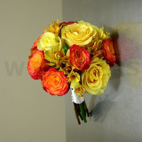 W Flowers product: Wedding Bouquet with orange and yellow roses