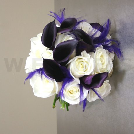 W Flowers product: Wedding Bouquet with purple calla and feathers